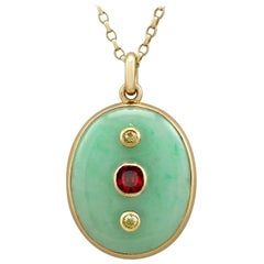 Antique French Jade and Garnet, Diamond and Yellow Gold Locket