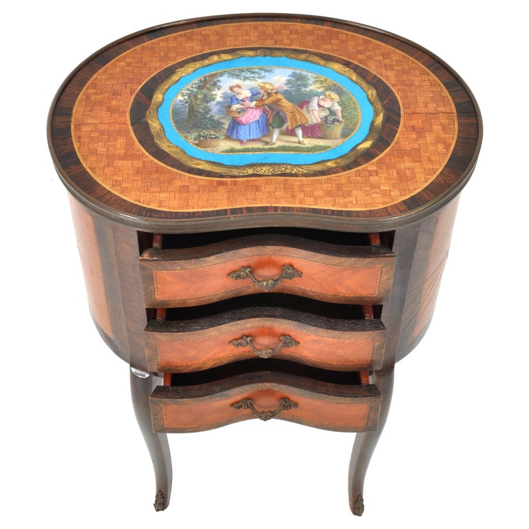Gilt Antique French Kidney Shaped Inlaid Side Table Cabinet Chest Sevres Plaque, 1890 For Sale