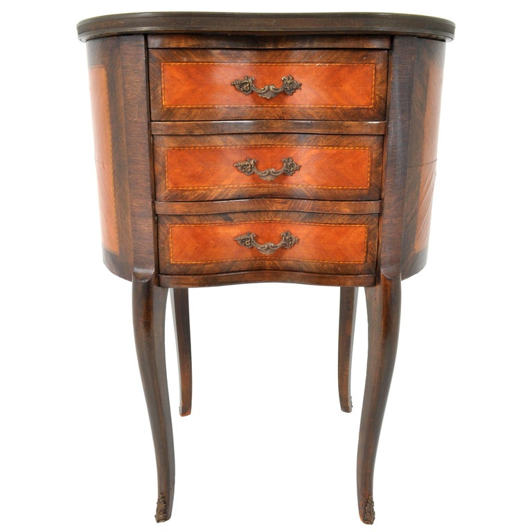 Antique French Kidney Shaped Inlaid Side Table Cabinet Chest Sevres Plaque, 1890 In Good Condition For Sale In Portland, OR