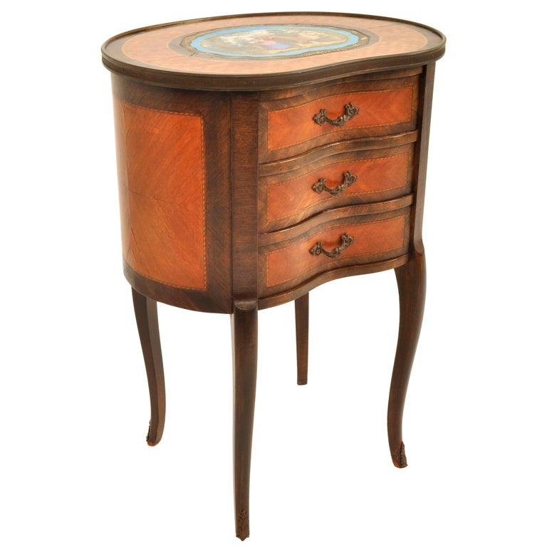 19th Century Antique French Kidney Shaped Inlaid Side Table Cabinet Chest Sevres Plaque, 1890 For Sale