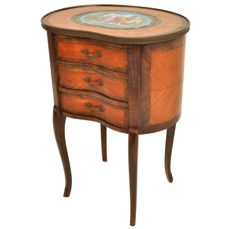 Bronze Antique French Kidney Shaped Inlaid Side Table Cabinet Chest Sevres Plaque, 1890 For Sale