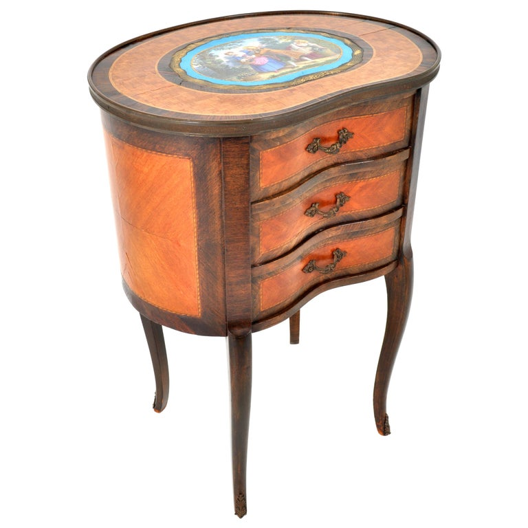 Antique French Kidney Shaped Inlaid Side Table Cabinet Chest Sevres Plaque, 1890 For Sale