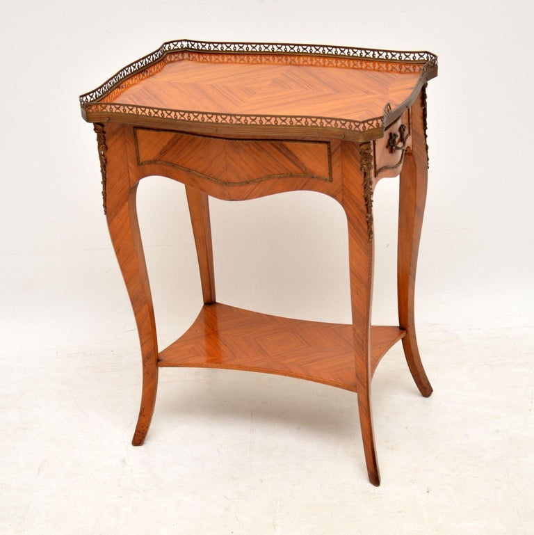 Kingwood Antique French King Wood Side Table For Sale