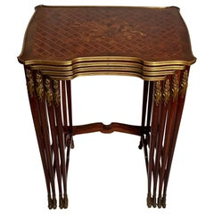 Antique French Kingswood and Satinwood Marquetry Nest of Tables, circa 1870