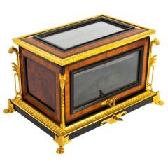 Antique French Kingwood and Ormolu Mounted Cigar Humidor, 19th Century