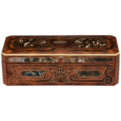 Antique French Kingwood Brass Marble Glove Box, 19th Century