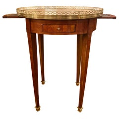 Antique French Kingwood Marble Top Bouillotte Table, circa 1870-1880
