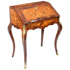 Antique French Kingwood Marquetry Bureau de Dame, 19th Century