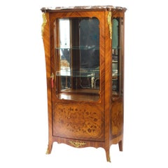 Antique French Kingwood Marquetry Ormolu Mounted Vitrine Cabinet, 19th Century
