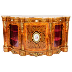 Antique French Kingwood and Marquetry Serpentine Credenza 19th Century