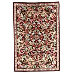 Antique French Knotted Aubusson Rug