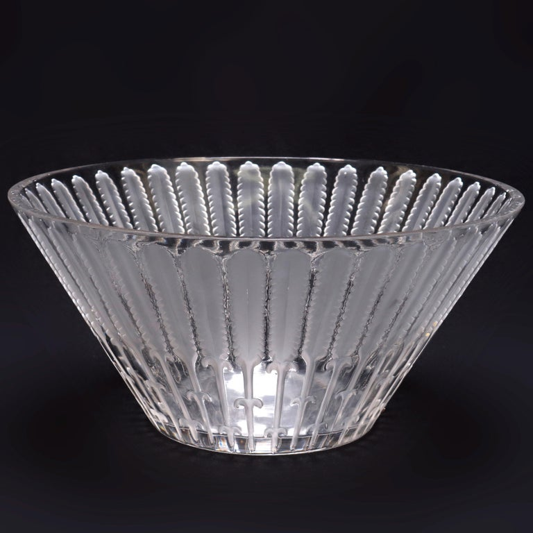 Frosted Antique French Lalique Crystal Center Bowl, circa 1920 For Sale