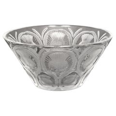 """Antique French Lalique Crystal Glass Center Bowl """"Chardons"""" Thistle Pattern 1930"""