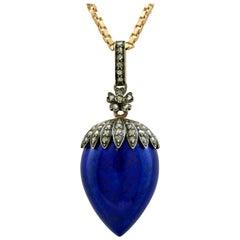 Antique French Lapis Lazuli and 1.02 Carat Diamond Rose Gold Locket or Pendant