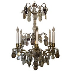 Antique French Late 19th Century Bronze and Crystal Chandelier