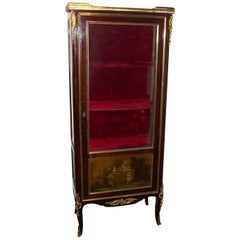 "Antique French Late 19th Century Mahogany ""Vernis Martin"" Display Case"