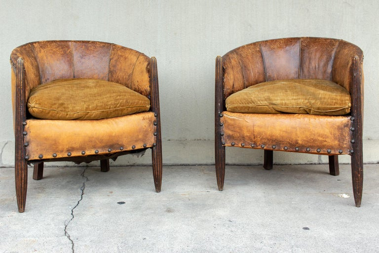 Antique French Leather And Velvet Barrel Back Chairs Pair