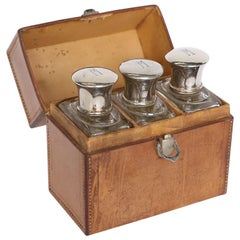 Antique French Leather Box with Three-Cologne Bottles