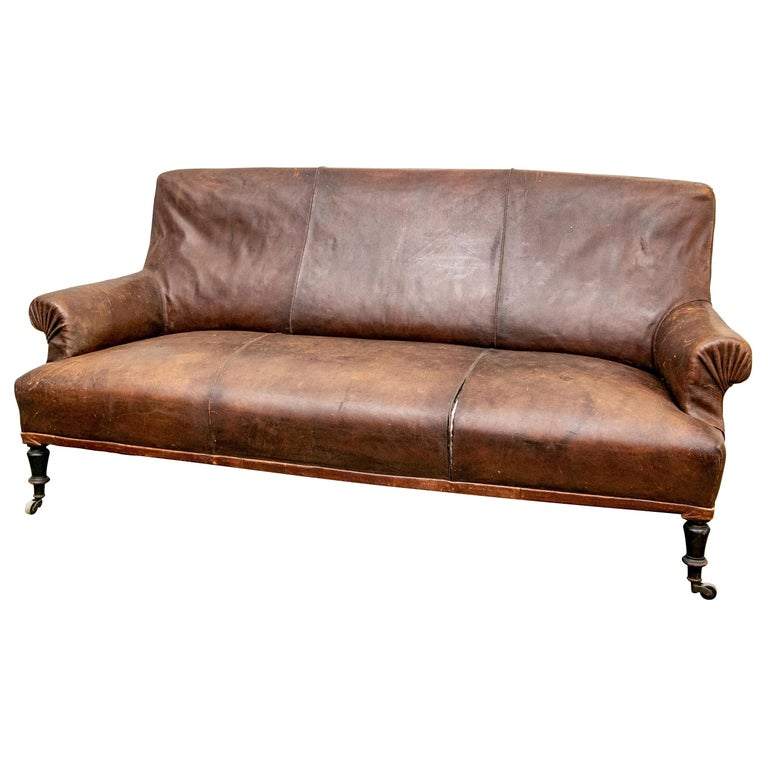 Antique French Leather Sofa For At