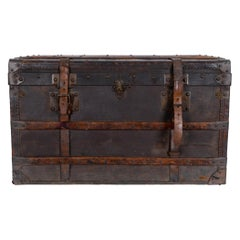 Antique French Leather Suitcase