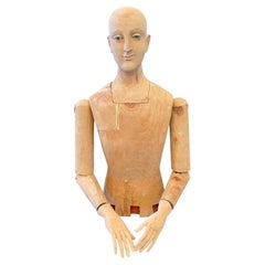 Antique French Life Size Reticulated Solid Wood Artist's Mannequin Sculpture