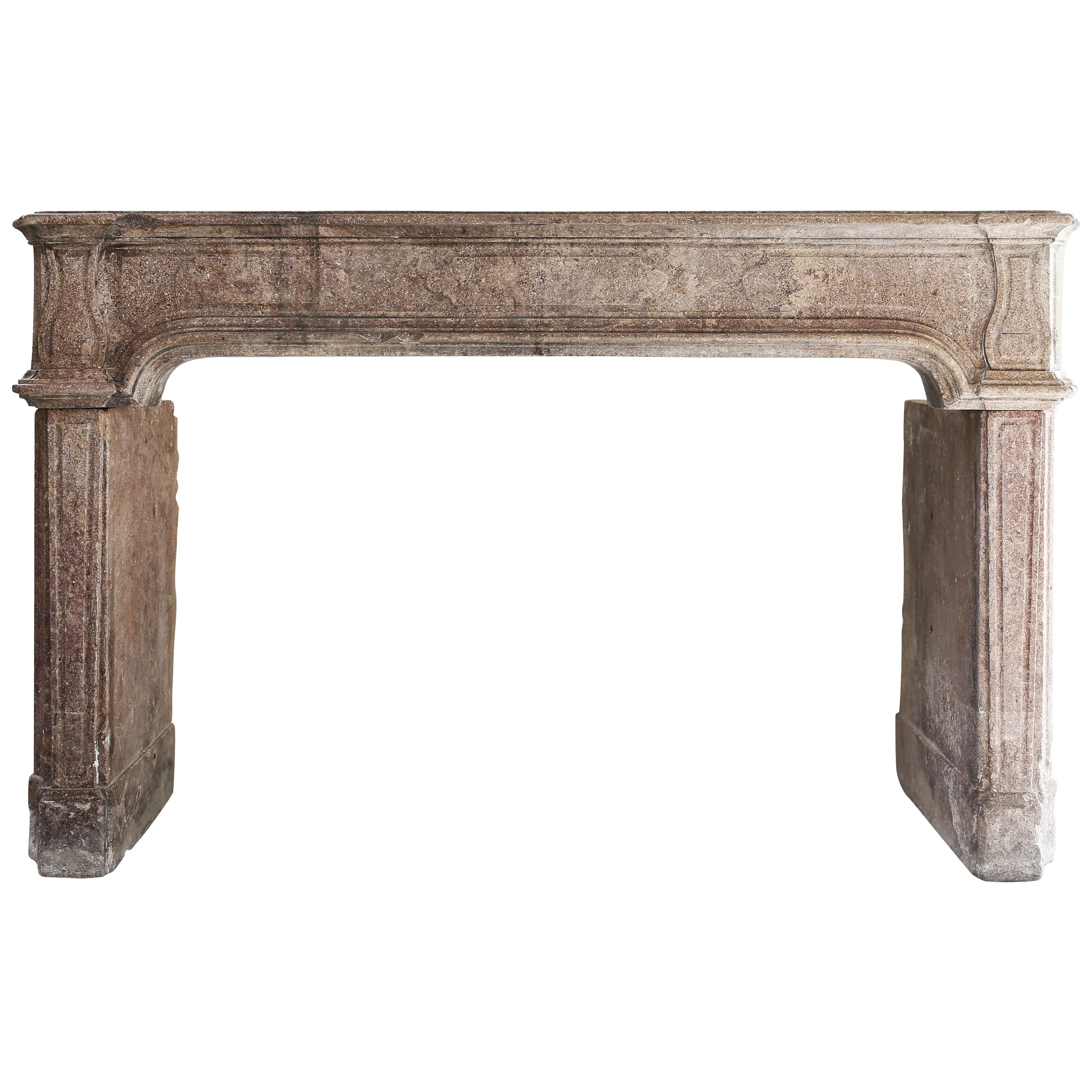 Antique French Limestone Fireplace, 19th Century, Louis XIV