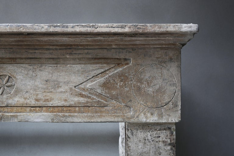 Other Antique French Limestone Fireplace in Campagnarde Style, 19th Century For Sale
