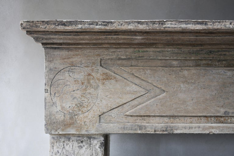 Antique French Limestone Fireplace in Campagnarde Style, 19th Century In Good Condition For Sale In Made, NL