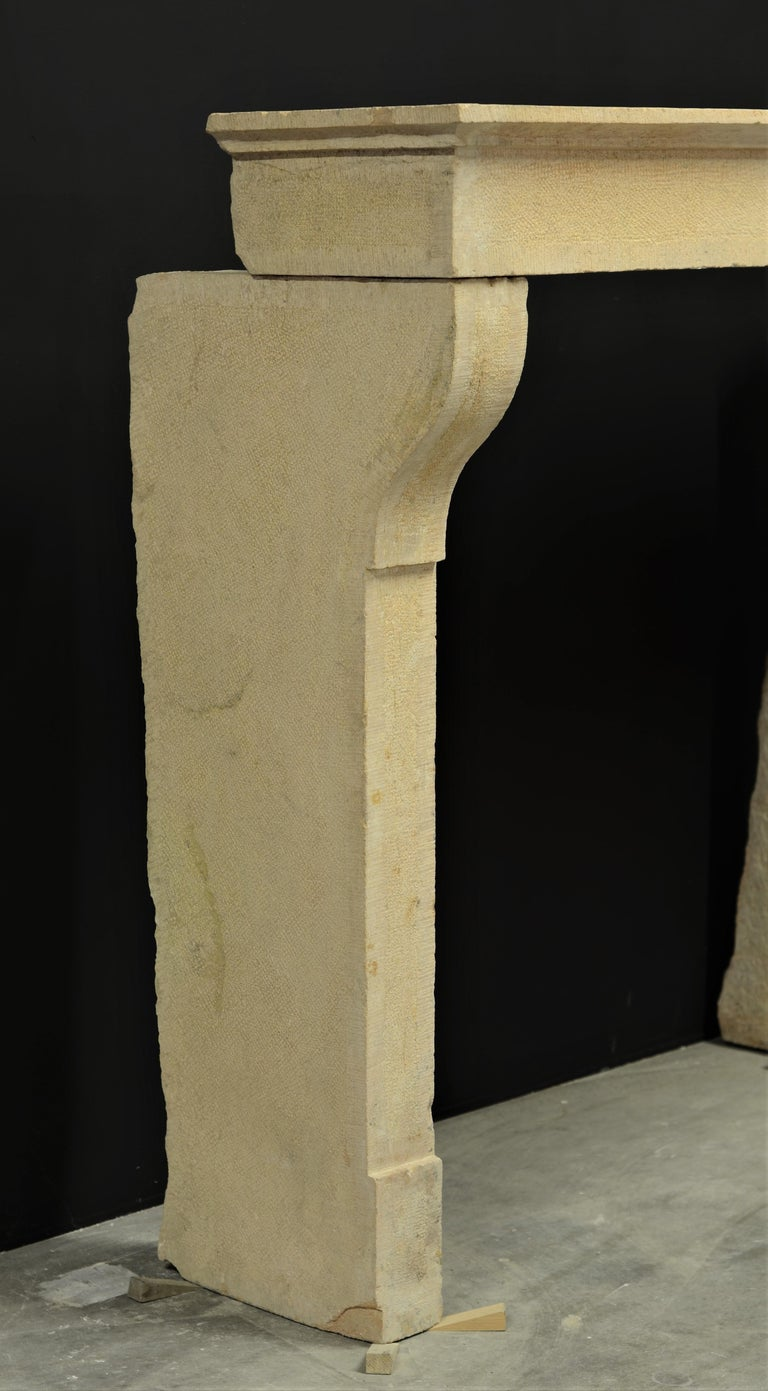 Antique French Limestone Fireplace Mantel, 19th Century For Sale 2