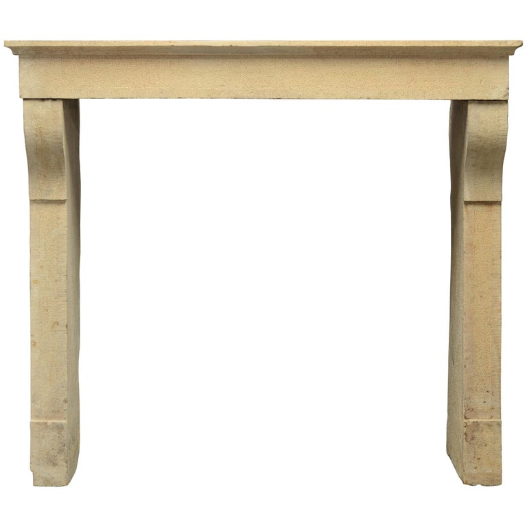 Antique French Limestone Fireplace Mantel, 19th Century For Sale