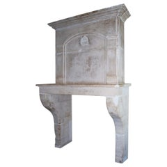 Antique French Limestone Fireplace or Mantelpiece with Overmantel or Trumeau