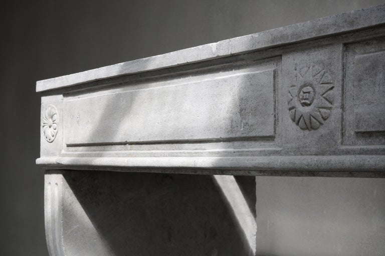 19th Century Antique French Limestone Fireplace, Style Louis XVI For Sale