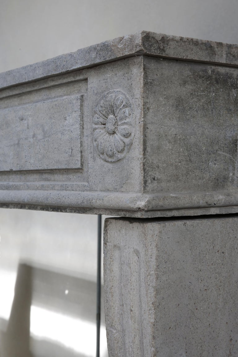 Antique French Limestone Fireplace, Style Louis XVI For Sale 4