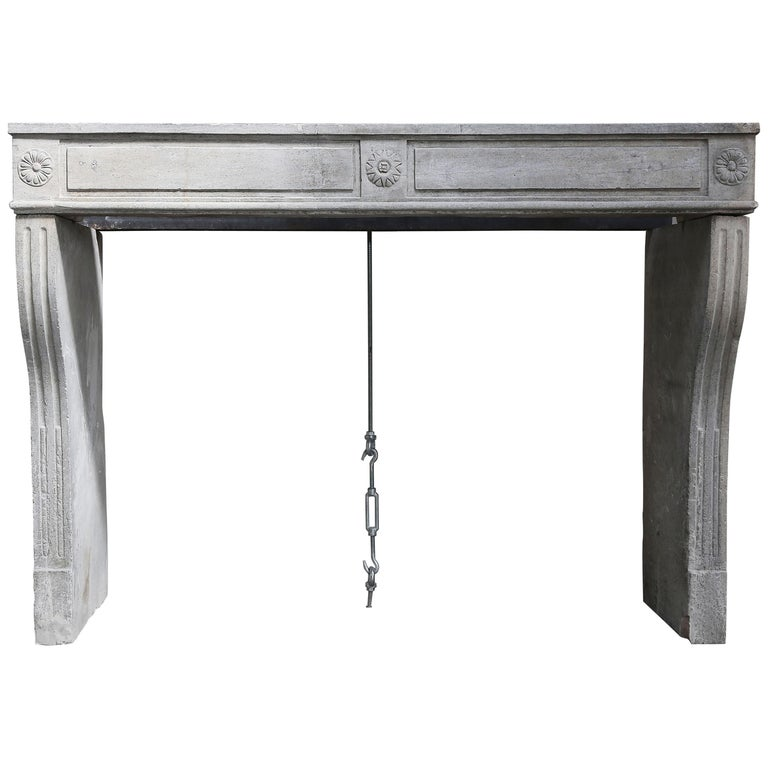 Antique French Limestone Fireplace, Style Louis XVI For Sale