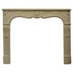Antique French Limestone Fireplace Mantel