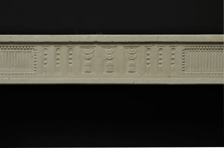 Antique French Limestone Louis XVI Fireplace Mantel In Good Condition For Sale In Haarlem, Noord-Holland