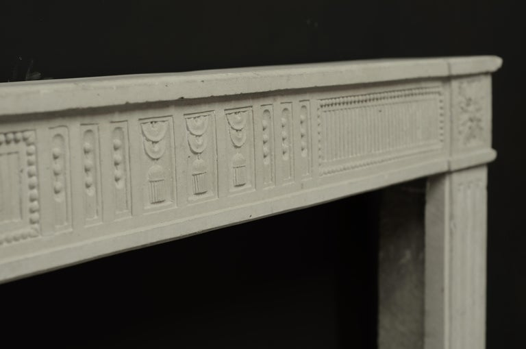 19th Century Antique French Limestone Louis XVI Fireplace Mantel For Sale