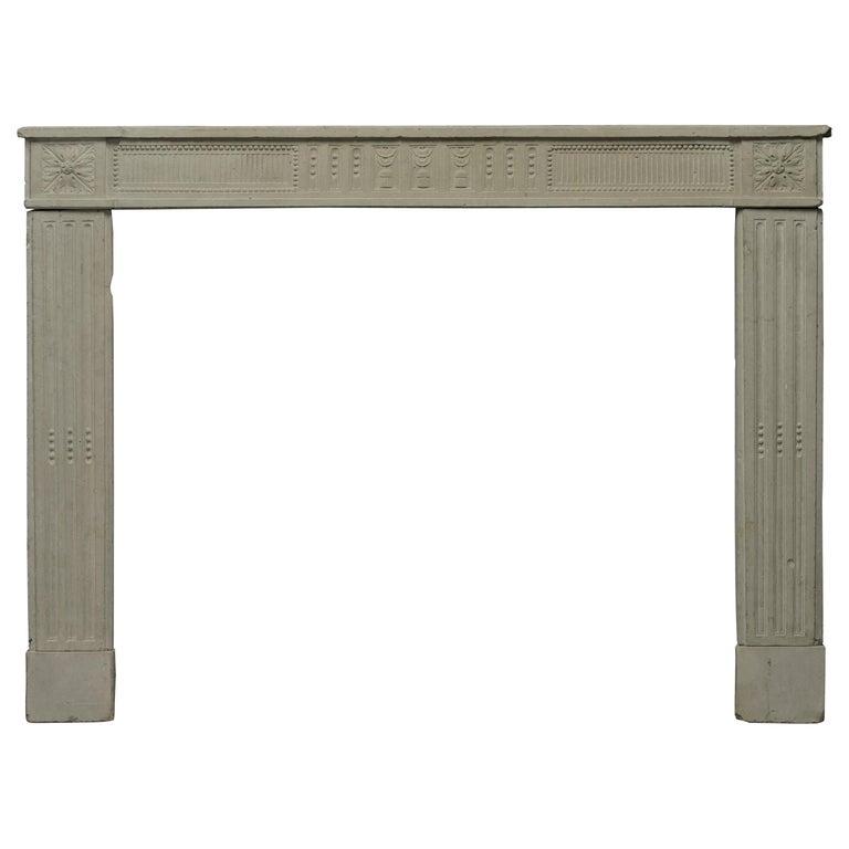 Antique French Limestone Louis XVI Fireplace Mantel For Sale