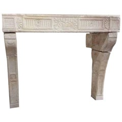 Antique French Limestone Mantel, circa 1680