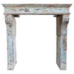 Antique French Limestone Mantel from the 19th Century in the Campagnarde Style