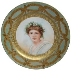 Antique French Limoges Painted & Gilt Portrait Plate of Young Woman by Scluette