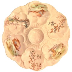 "Antique French Limoges Pink Porcelain Oyster Plate Signed ""J. Pouyat"" circa 1900"