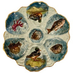 Antique French Limoges Porcelain Oyster Plate, Hand Painted Sea Life, circa 1870