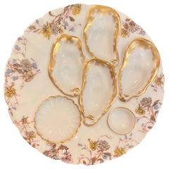 "Antique French Limoges Porcelain Oyster Plate Signed ""Haviland & Co."" circa 1900"