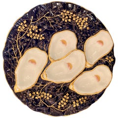 Antique French Limoges Porcelain Turkey Pattern Oyster Plate, circa 1880s