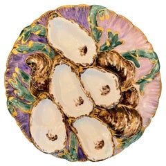 Antique French Limoges Porcelain Turkey Pattern Oyster Plate, circa 1890