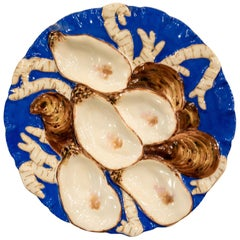 Antique French Limoges Porcelain Turkey Pattern Oyster Plate in Blue Glaze