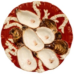 Antique French Limoges Porcelain Turkey Pattern Oyster Plate in Red, circa 1890
