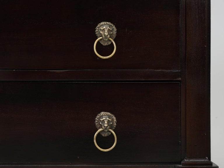 Antique French Lion Paw Footed Mahogany Empire Style Commode, Restored For Sale 9