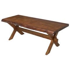 Antique French Live Edge Mahogany Trestle Dining Table from One Slab of Wood